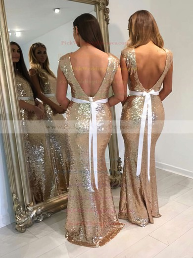 Trumpet/Mermaid Scoop Neck Sequined Floor-length Sashes / Ribbons Backless Bridesmaid Dresses #PWD01012911