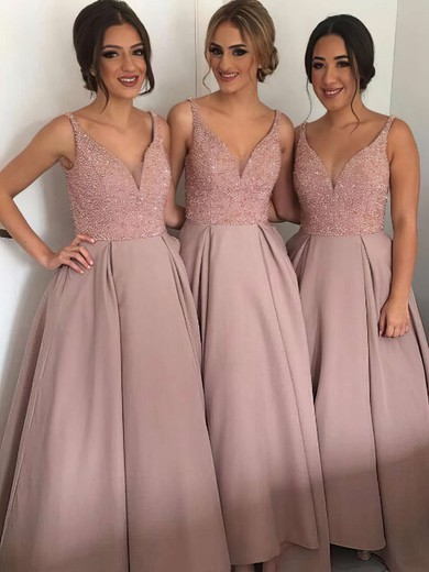 Princess V-neck Floor-length Satin with Beading New Style Bridesmaid Dresses #PWD01012912