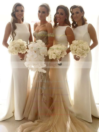 White Silk-like Satin Scoop Neck Sweep Train Ruffles Trumpet/Mermaid Bridesmaid Dresses #PWD01012913