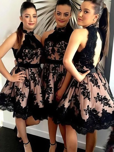 Open Back A-line Tulle Appliques Lace Short/Mini High Neck Bridesmaid Dresses #PWD01012914