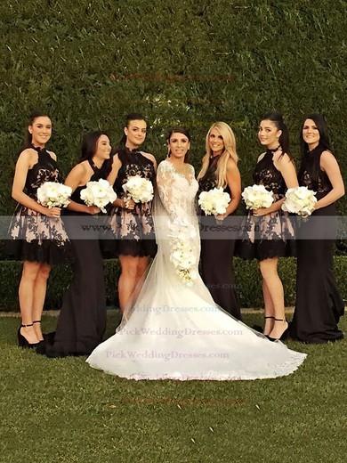 Open Back A-line Tulle Appliques Lace Short/Mini High Neck Bridesmaid Dresses #PWD01012914