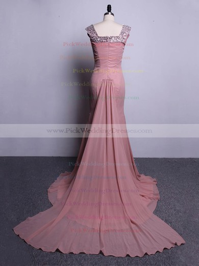 Classy Trumpet/Mermaid Chiffon Beading Watteau Train Off-the-shoulder Bridesmaid Dresses #PWD01012916