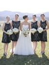 Black Knee-length A-line Scoop Neck Lace Sashes / Ribbons Open Back Bridesmaid Dresses #PWD01012917