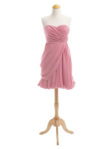 Simple Sweetheart Ruffles Chiffon Short/Mini Sheath/Column Bridesmaid Dresses #PWD01012919