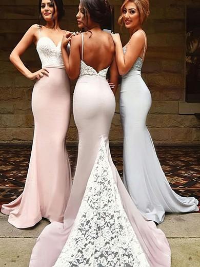 Trumpet/Mermaid Sweetheart Silk-like Satin Sweep Train Appliques Lace Backless Bridesmaid Dresses #PWD01012920