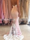 Trumpet/Mermaid Sweetheart Silk-like Satin Sweep Train Appliques Lace Backless Bridesmaid Dresses #PWD01012920