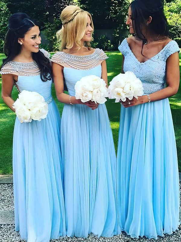 A-line Scoop Neck Chiffon Tulle Pearl Detailing Floor-length Famous Bridesmaid Dresses #PWD01012921