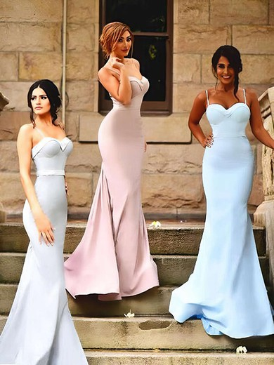 Latest Sweetheart Sweep Train Silk-like Satin Ruffles Trumpet/Mermaid Bridesmaid Dresses #PWD01012922