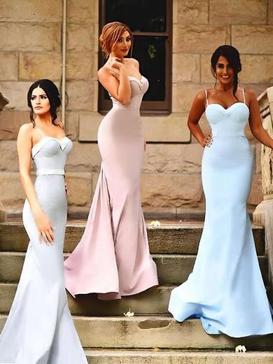 Latest Sweetheart Sweep Train Silk-like Satin Ruffles Trumpet/Mermaid Bridesmaid Dresses #PWD01012922