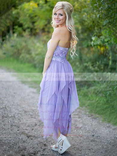Asymmetrical A-line Sweetheart Chiffon with Lace Cheap Bridesmaid Dresses #PWD01012923
