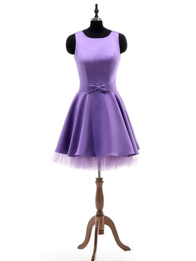 Junior A-line Scoop Neck Satin Tulle with Bow Short/Mini Bridesmaid Dresses #PWD01012924
