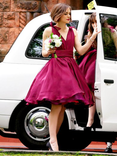 V-neck A-line Chiffon with Ruffles Amazing Short/Mini Bridesmaid Dresses #PWD01012925