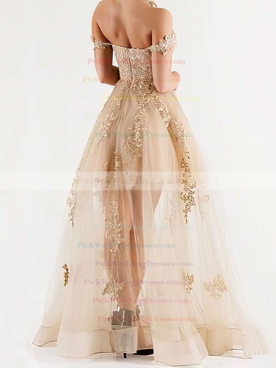Exclusive A-line Floor-length Tulle Appliques Lace Off-the-shoulder Bridesmaid Dress #PWD01012926