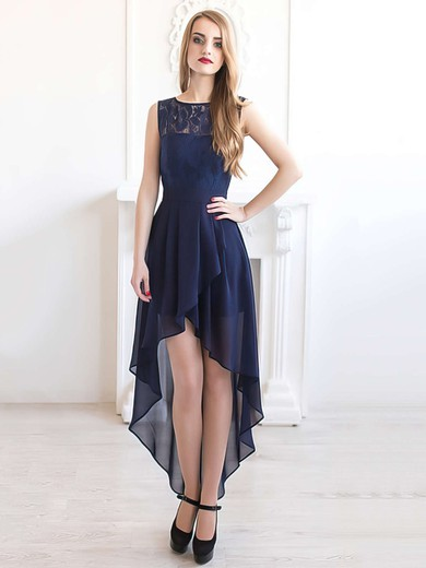 Scoop Neck A-line Dark Navy Chiffon with Lace Online Asymmetrical Bridesmaid Dresses #PWD01012927