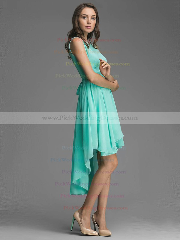A-line Scoop Neck Chiffon Sashes / Ribbons Asymmetrical Affordable Bridesmaid Dresses #PWD01012928