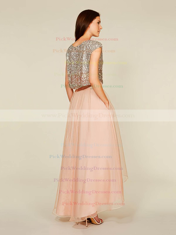 Asymmetrical A-line Scoop Neck Tulle Sequined Short Sleeve Two Piece Bridesmaid Dress #PWD01012930