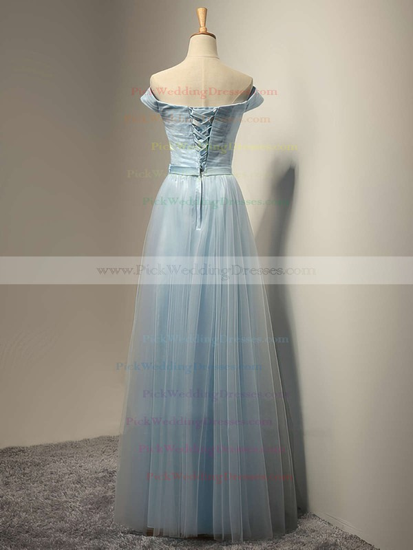 Off-the-shoulder A-line Tulle Sashes / Ribbons Floor-length Lace-up Pretty Bridesmaid Dresses #PWD01012931