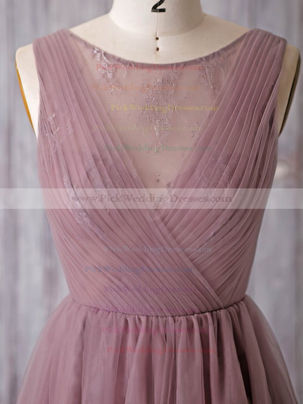 Inexpensive A-line Scoop Neck Tulle Lace Knee-length Bridesmaid Dresses #PWD01012932