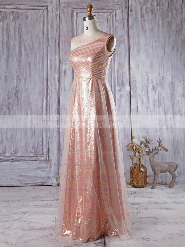 A-line Ruffles Tulle Sequined Floor-length Original One Shoulder Bridesmaid Dress #PWD01012934