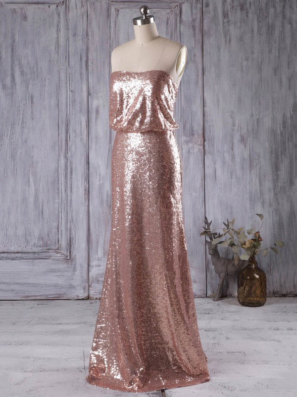 Sheath/Column Sequined Floor-length Strapless New Style Bridesmaid Dresses #PWD01012935