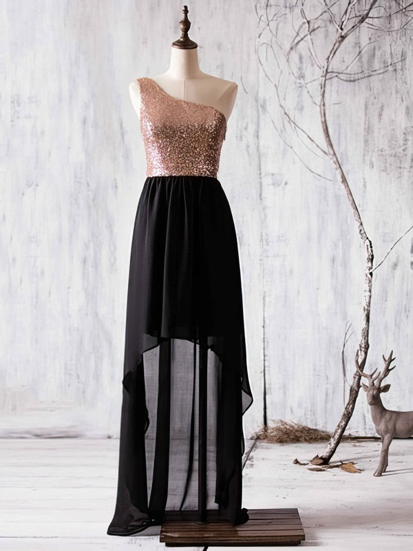 A-line Asymmetrical Chiffon Sequined Ruffles One Shoulder Bridesmaid Dress #PWD01012936