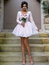 V-neck Short/Mini A-line Tulle Appliques Lace Long Sleeve Top Bridesmaid Dresses #PWD01012937