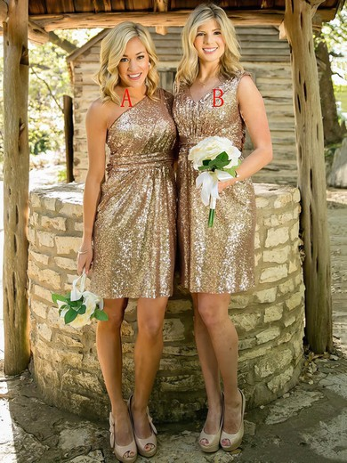 One Shoulder Sheath/Column Sequined Ruffles Short/Mini Sparkly Bridesmaid Dress #PWD01012939