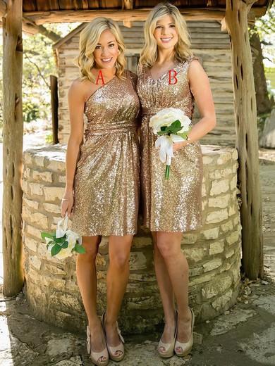 One Shoulder Sheath/Column Sequined Ruffles Short/Mini Sparkly Bridesmaid Dress #PWD01012939