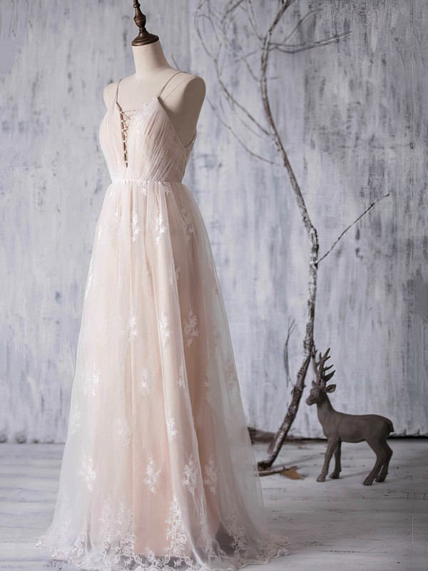 Backless V-neck Tulle Appliques Lace A-line Floor-length Boutique Bridesmaid Dresses #PWD01012940