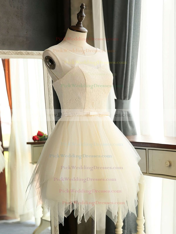 Cute Scoop Neck A-line Lace Tulle Sashes / Ribbons Short/Mini Bridesmaid Dresses #PWD01012941