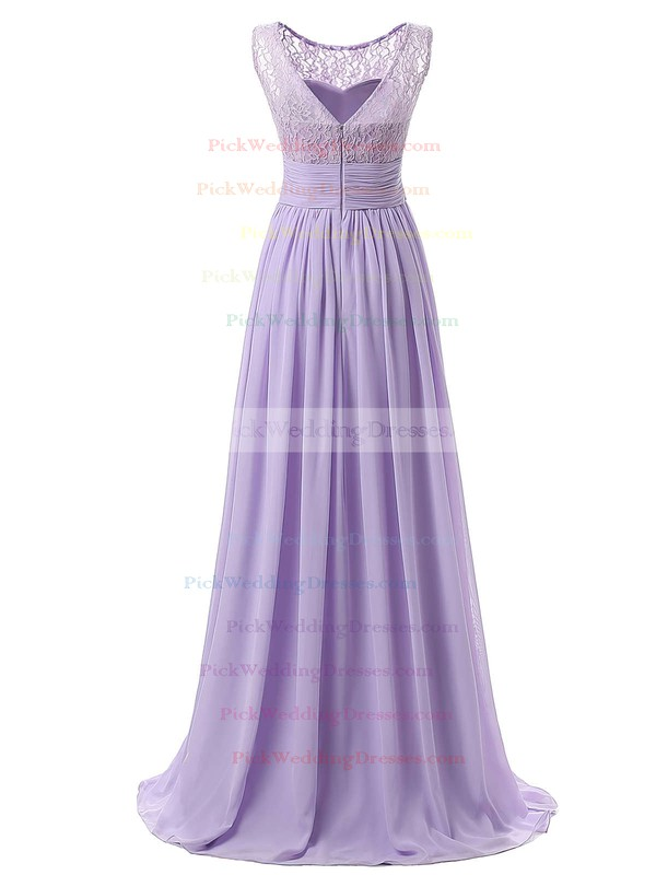 A-line Scoop Neck Lace Chiffon with Ruffles Floor-length Nice Bridesmaid Dresses #PWD01012943