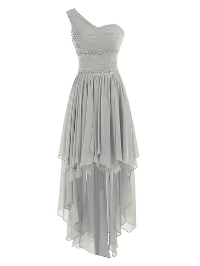 A-line Chiffon with Beading Unique One Shoulder Asymmetrical Bridesmaid Dresses #PWD01012944