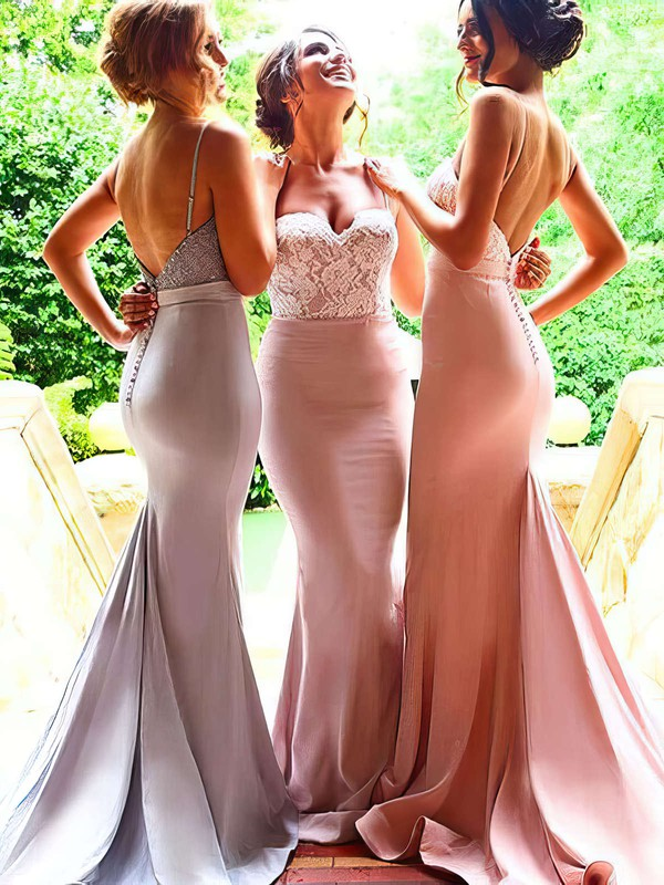 Sweetheart Trumpet/Mermaid Silk-like Satin Sweep Train Appliques Lace Backless Bridesmaid Dress #PWD01012946