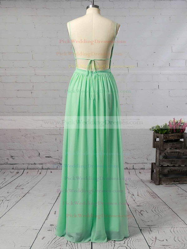 Backless A-line Floor-length V-neck Ruffles Chiffon Custom Bridesmaid Dresses #PWD01012947
