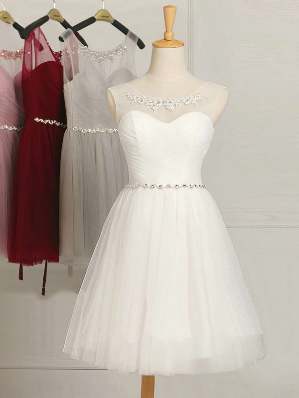 White Short/Mini A-line Scoop Neck Tulle Ruffles Sweet Bridesmaid Dresses #PWD01012948
