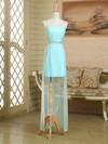 Strapless Sheath/Column Ruffles Satin Chiffon Asymmetrical Cheap Bridesmaid Dress #PWD01012949