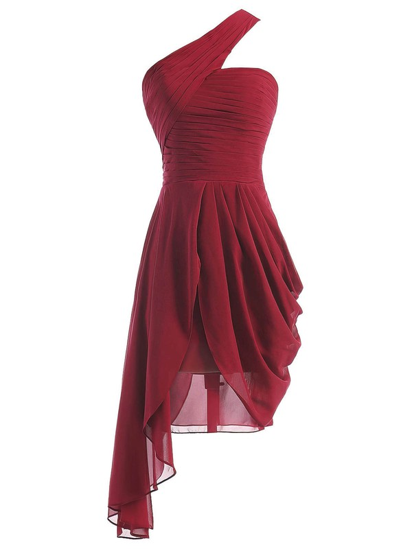 One Shoulder A-line Ruffles Chiffon Asymmetrical Burgundy Classic Bridesmaid Dresses #PWD01012950