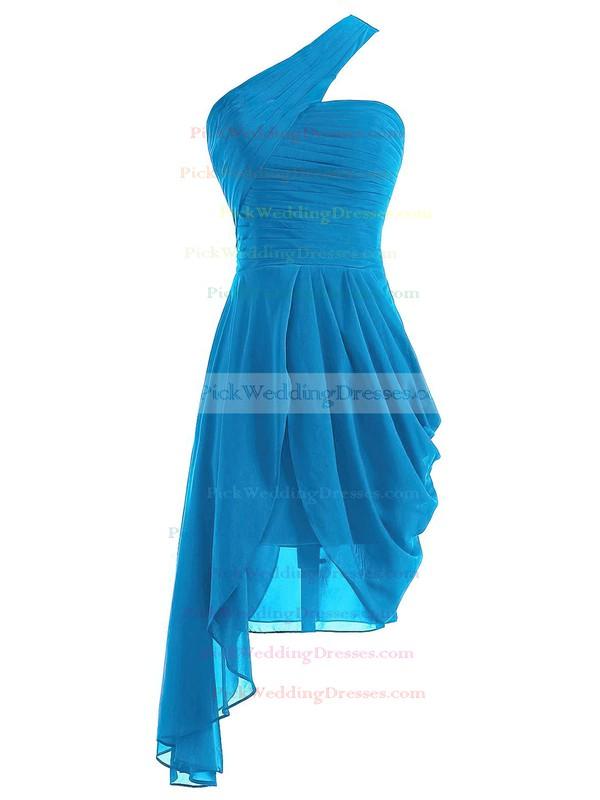 One Shoulder A-line Ruffles Chiffon Asymmetrical Burgundy Classic Bridesmaid Dresses #PWD01012950