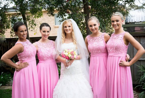 A-line Floor-length Scoop Neck Chiffon with Lace New Arrival Bridesmaid Dresses #PWD01012951
