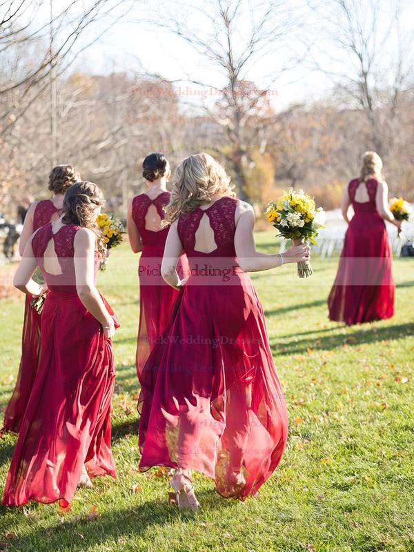 Burgundy A-line V-neck Chiffon Floor-length Appliques Lace Open Back Bridesmaid Dresses #PWD01012952