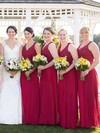 Burgundy A-line V-neck Chiffon Floor-length Appliques Lace Open Back Bridesmaid Dresses #PWD01012952