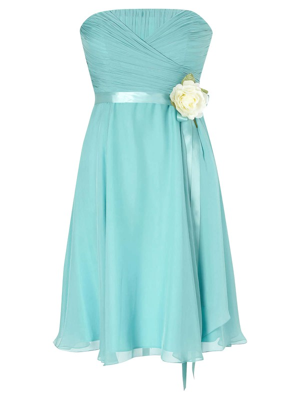 Custom Strapless Chiffon with Sashes / Ribbons Empire Knee-length Bridesmaid Dresses #PWD01012953