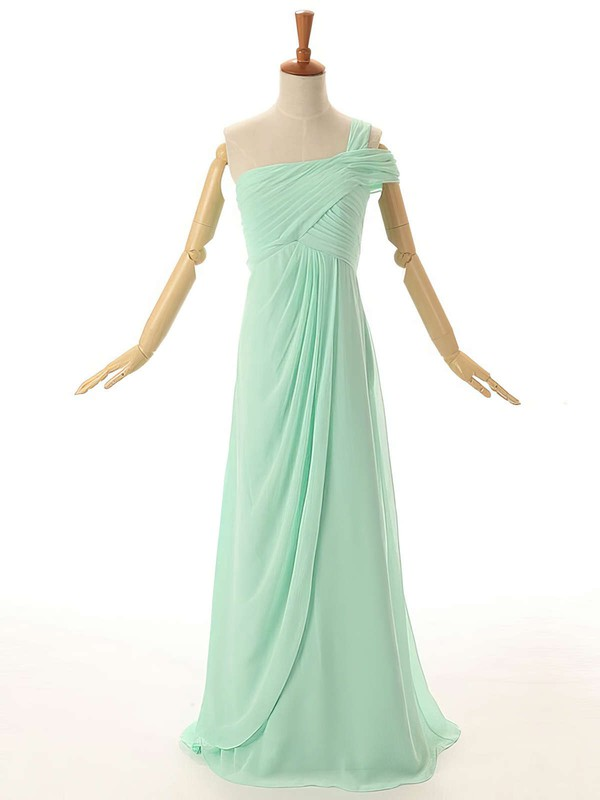 Empire Floor-length Ruffles Chiffon Original One Shoulder Bridesmaid Dresses #PWD01012954