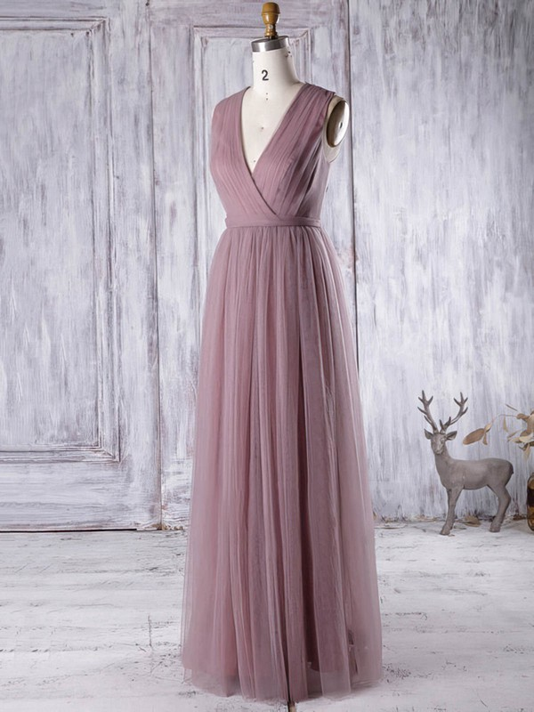 Elegant A-line Tulle Appliques Lace Floor-length V-neck Bridesmaid Dresses #PWD01012956