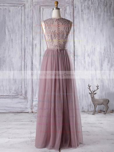 Elegant A-line Tulle Appliques Lace Floor-length V-neck Bridesmaid Dresses #PWD01012956