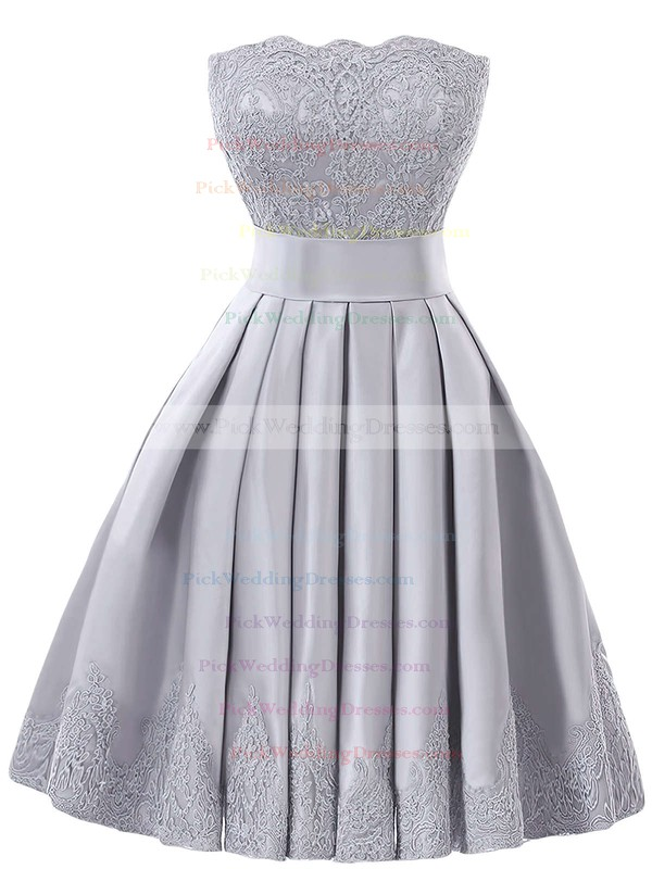 Strapless A-line Satin with Appliques Lace Graceful Knee-length Bridesmaid Dresses #PWD01012957