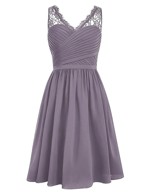 Promotion A-line V-neck Chiffon with Lace Knee-length Bridesmaid Dresses #PWD01012958