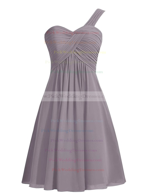 Simple Blue Empire Ruffles Chiffon Knee-length One Shoulder Bridesmaid Dresses #PWD01012959