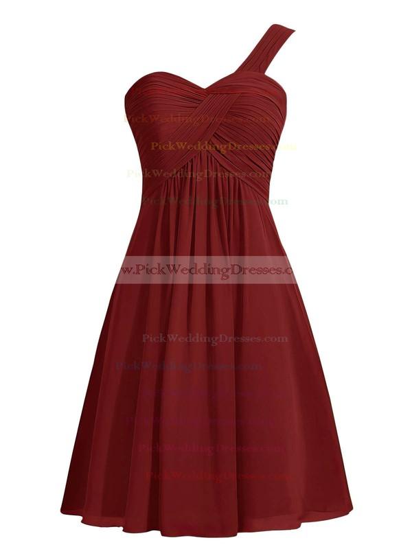 Simple Blue Empire Ruffles Chiffon Knee-length One Shoulder Bridesmaid Dresses #PWD01012959