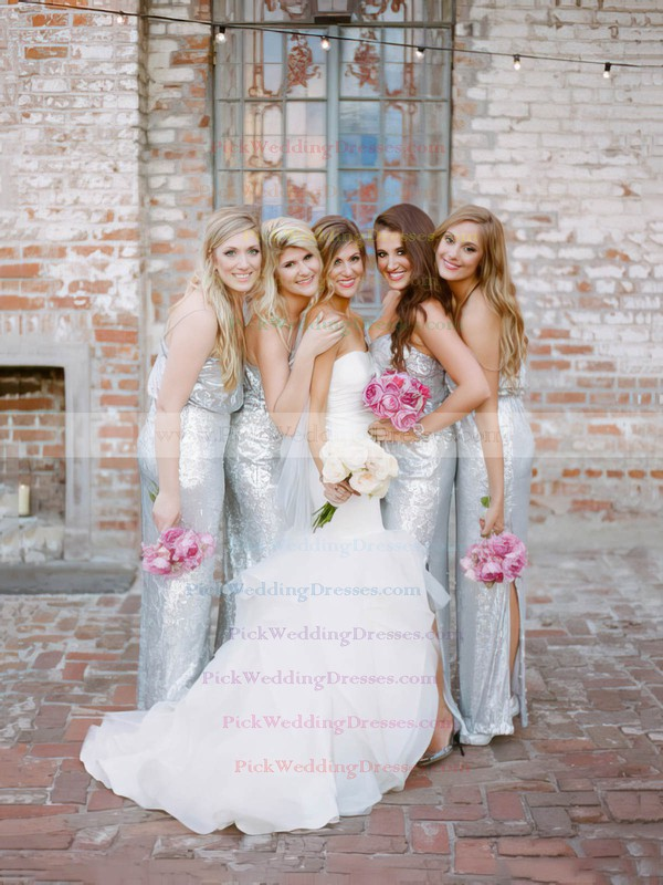 Silver Sheath/Column V-neck Sequined Floor-length Split Front Unique Bridesmaid Dresses #PWD01012961